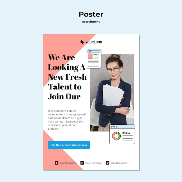 Recruitment concept poster template Free Psd