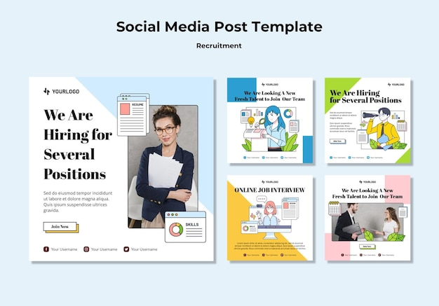 Recruitment concept social media post template Free Psd