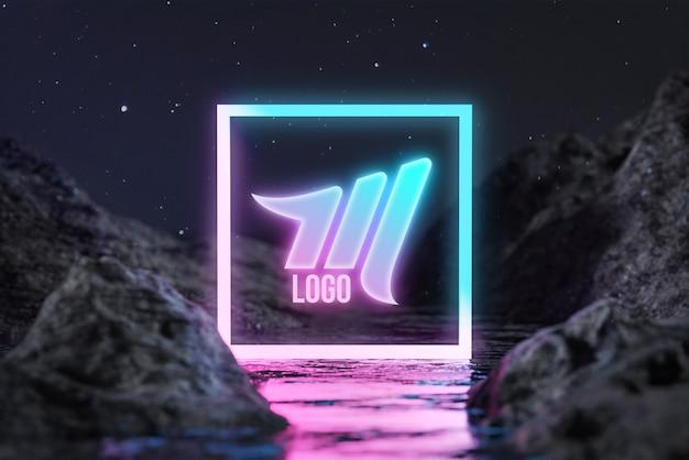 Rectangle neon water terrain night stars logo mockup Premium Psd