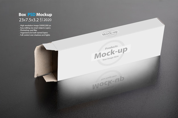 Rectangular chocolate box on a dark background Premium Psd