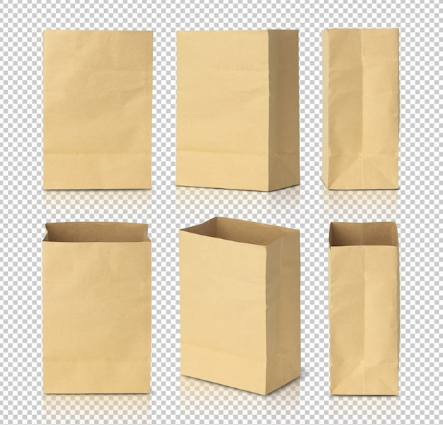 Шаблон макета макулатуры коричневые бумажные мешки для вашего дизайна. Premium Psd