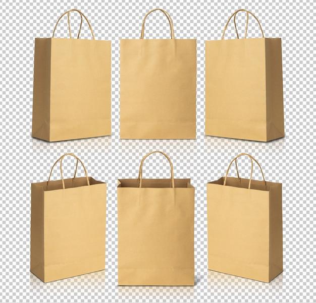 Шаблон макета сумки из коричневой бумаги для вашего дизайна Premium Psd