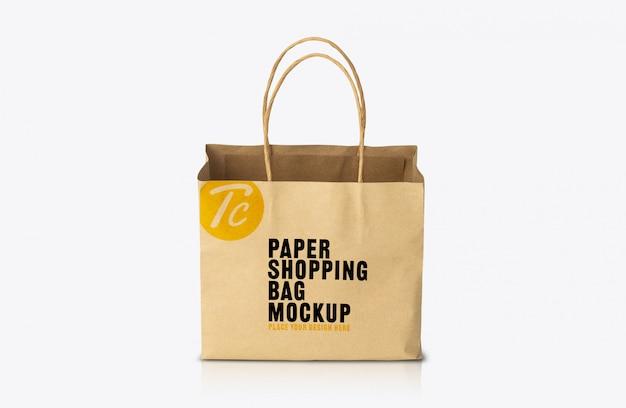 Шаблон макета коричневого бумажного пакета из переработанной крафт-бумаги Premium Psd