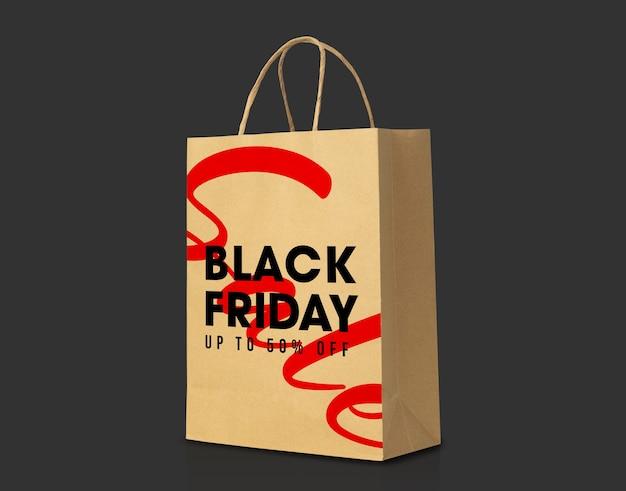Коричневый бумажный пакет из переработанной крафт-бумаги с макетом в стиле черной пятницы Premium Psd