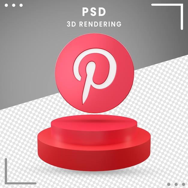 赤の3d回転ロゴアイコンpinterest分離 Premium Psd