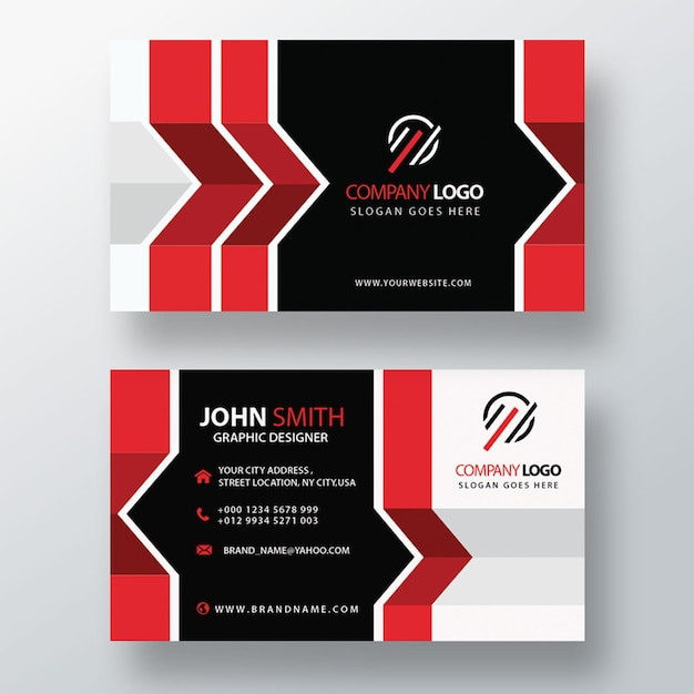 Red abstract business card Free Psd