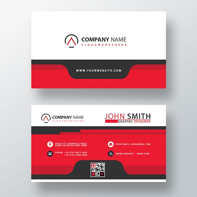 Red abstract company card template Free Psd