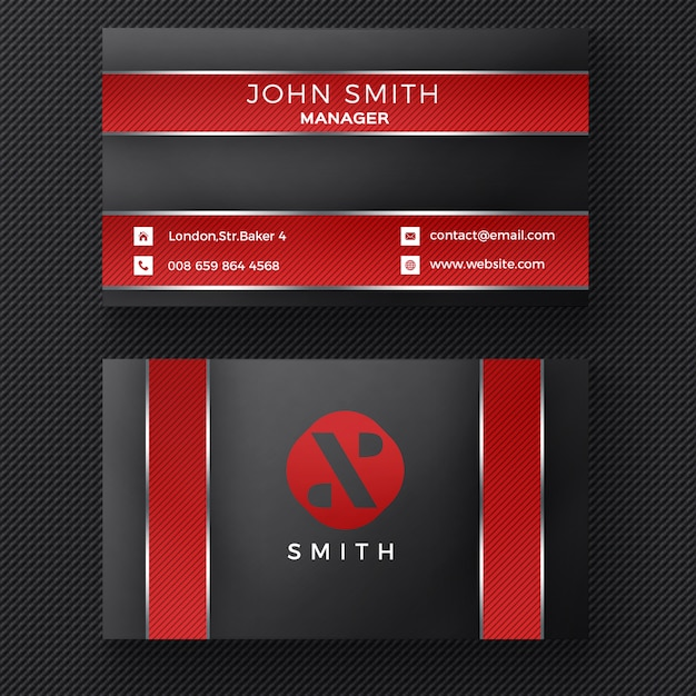 Red and black business card Free Psd