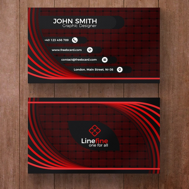 Red and black corporate business card Free Psd