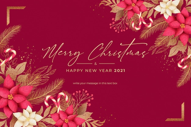 겨울 자연과 빨간색과 황금 크리스마스 배경 무료 PSD 파일