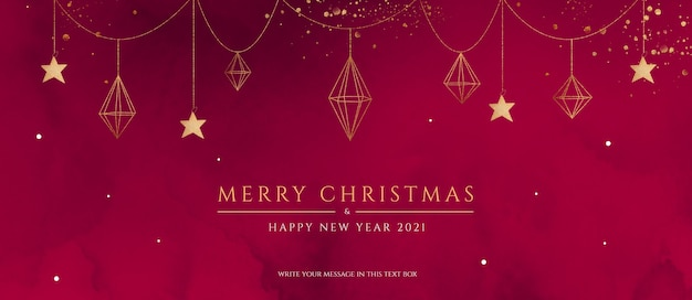 エレガントな装飾が施された赤と金色のクリスマスバナー 無料 Psd