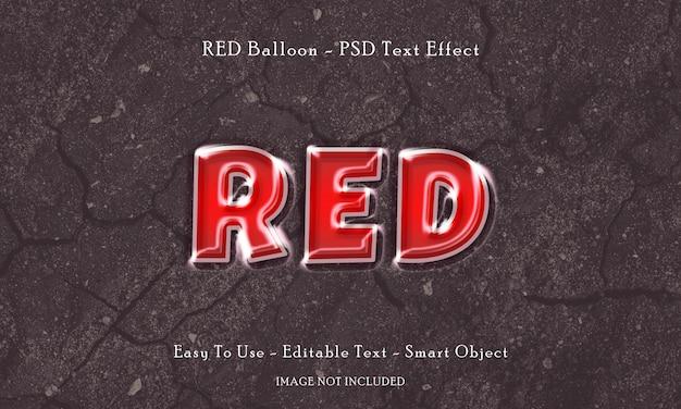 빨간 풍선 텍스트 효과 프리미엄 PSD 파일