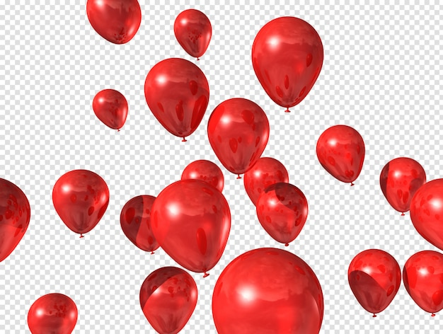 Red balloons floating Premium Psd