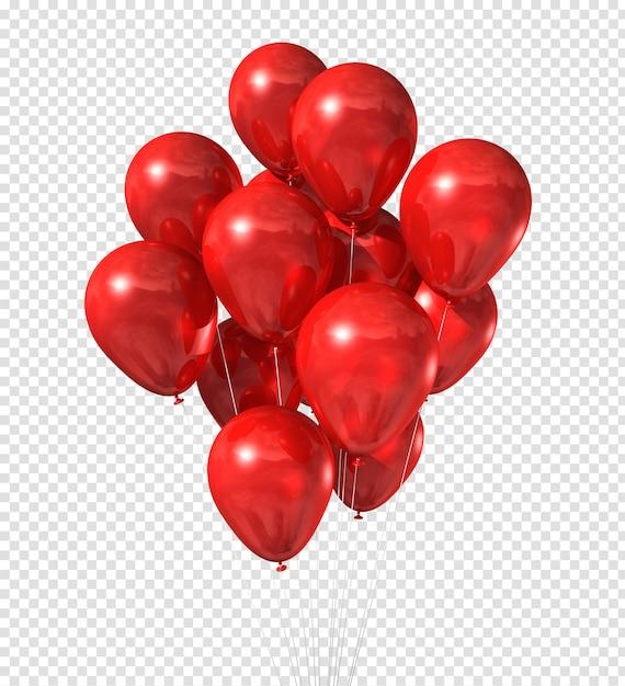 Группа красных шаров, изолированные на белом Premium Psd