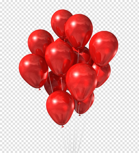 Red balloons group isolated on white Premium Psd