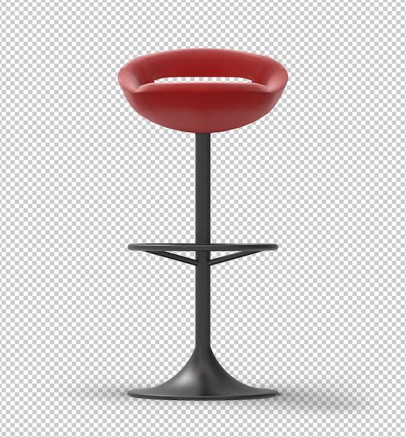 Red bar stool. black metal frame. transparent background. Premium Psd