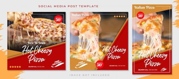 Red brown pizza food social media post template Premium Psd