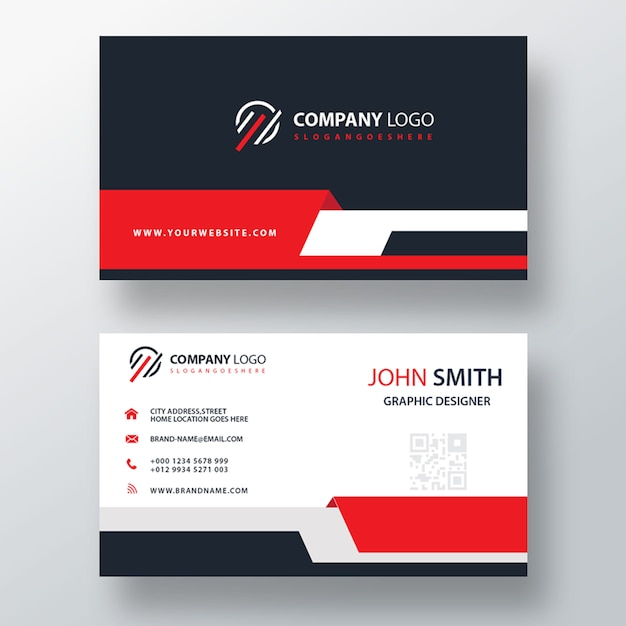 Red business card template Free Psd