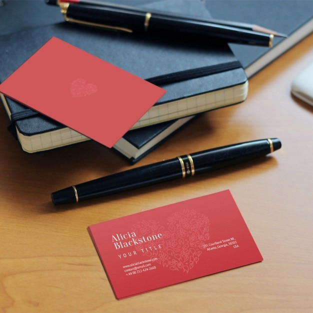 Red business card Free Psd