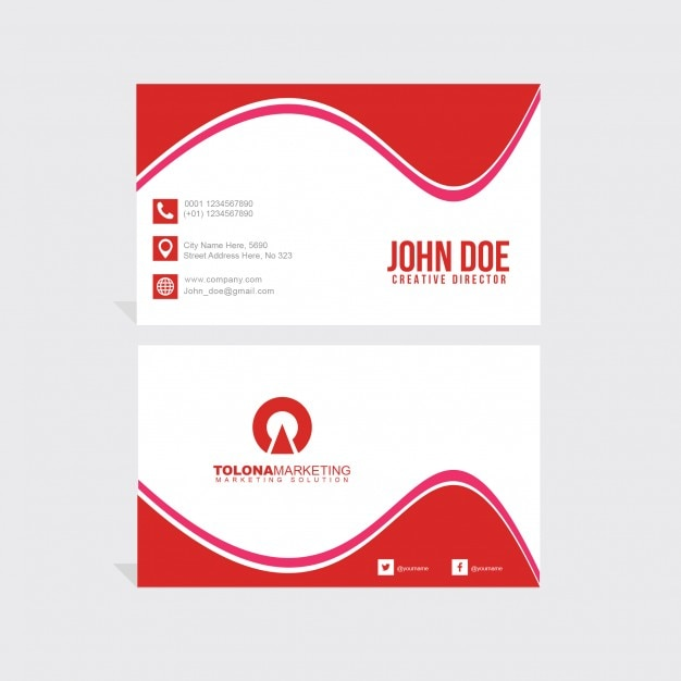 Red business card PSD file | Free Download