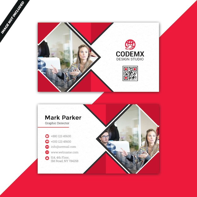 Red business card Premium Psd