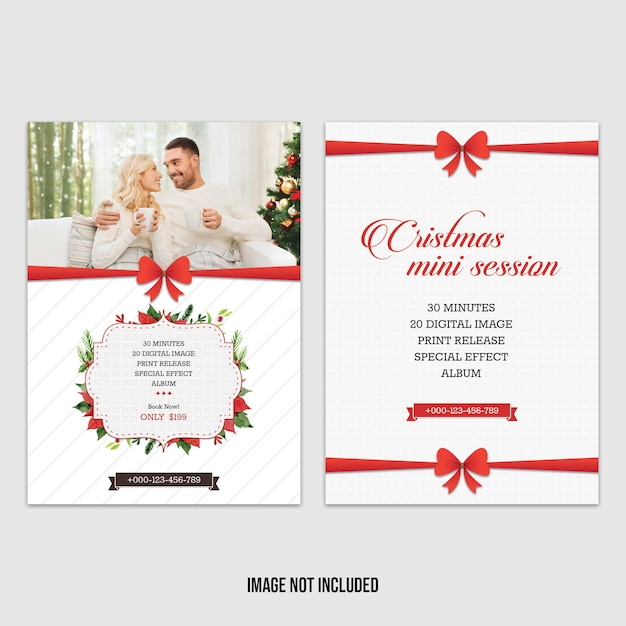 Red Christmas Mini Session Template PSD File