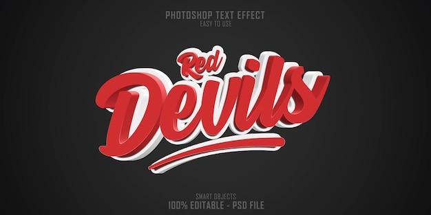 Red devils 3d text style effect Premium Psd