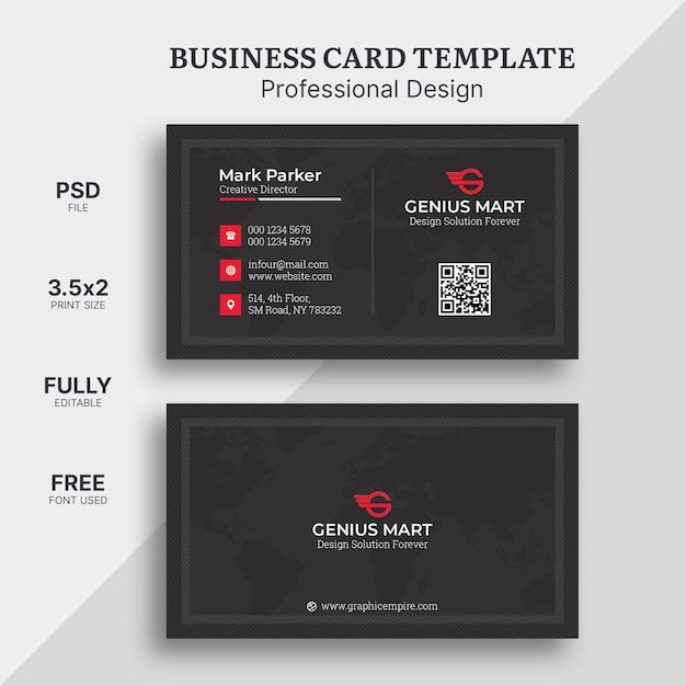 Red elegant corporate card Premium Psd