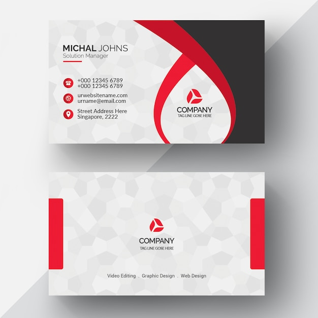 red geometric business card psd file premium download