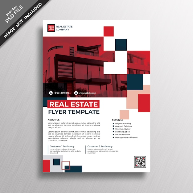 Red Geometry Style Design Real Estate Flyer Template Premium Psd