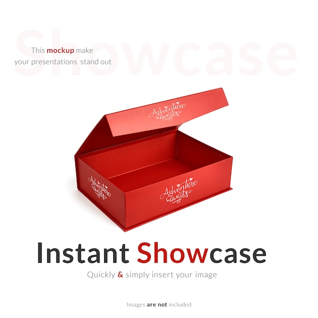 Red Gift Box Mock Up Free Psd File