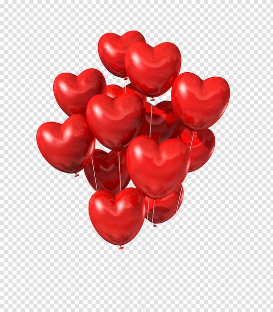 Красные воздушные шары в форме сердца, плавающие в небе Premium Psd