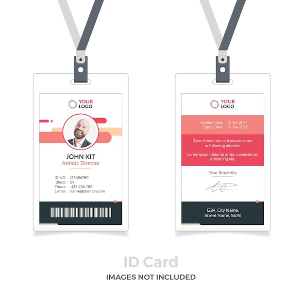 Red id card mockup with ribbon Premium Psd