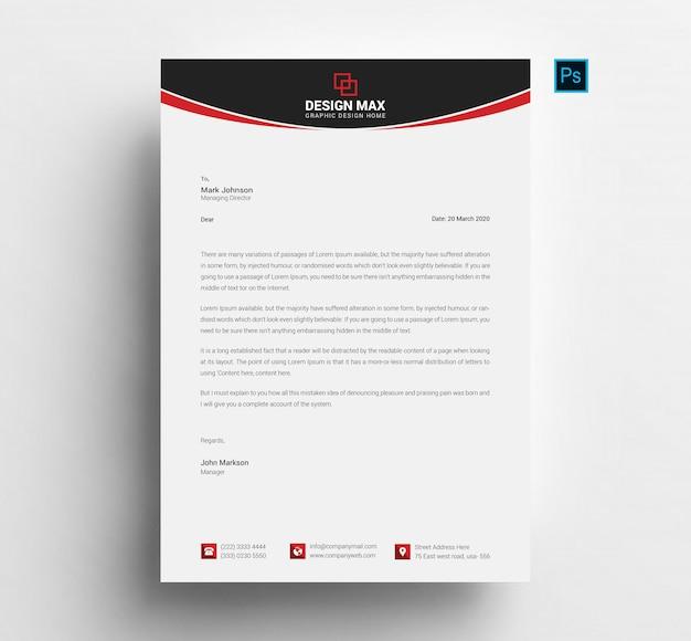 Red letterhead template Premium Psd