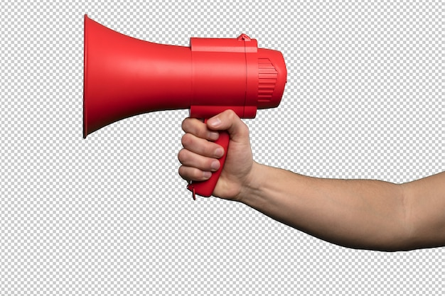 Red megaphone over white background Premium Psd