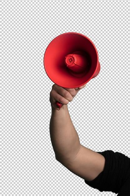 Red megaphone over white background Premium Psd