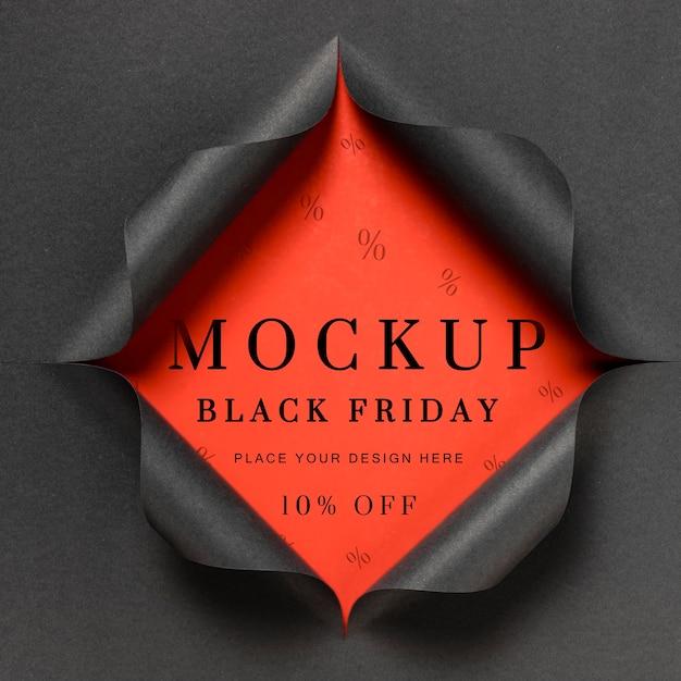 Mock-up rosso e carta strappata venerdì nero Psd Gratuite
