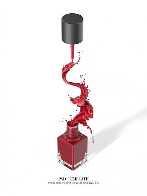 Красный лак для ногтей на белом фоне 3d визуализации Premium Psd