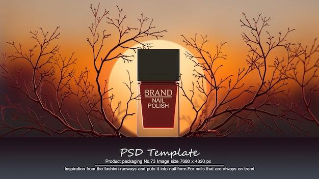 Красный лак для ногтей на красном фоне деревьев 3d визуализации Premium Psd