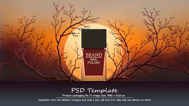 Red nail polish product on red trees background 3d render Premium Psd