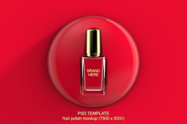 Красный или розовый лак для ногтей 3d макет Premium Psd