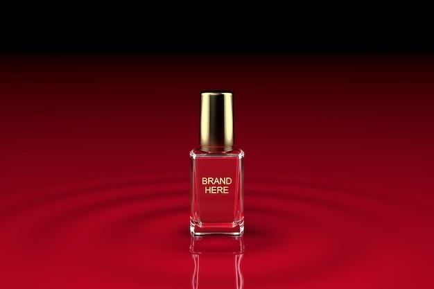 Красный или розовый лак для ногтей макет Premium Psd