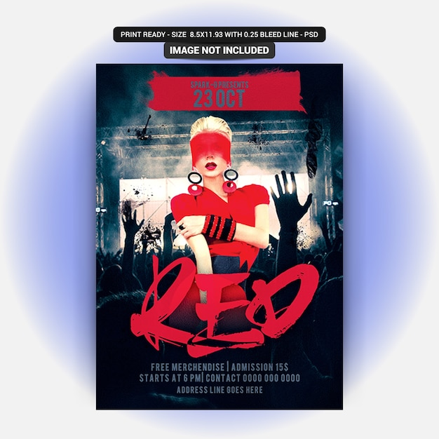 Red party flyer Premium Psd