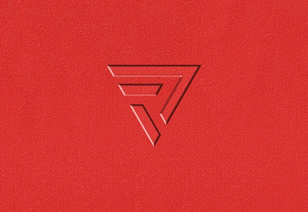 Red plastic texture logo mockup Premium Psd