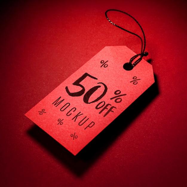 Prezzo da pagare rosso con mock-up di vendita venerdì nero ombra Psd Gratuite
