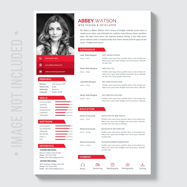 Red Resume Mockup Premium Psd
