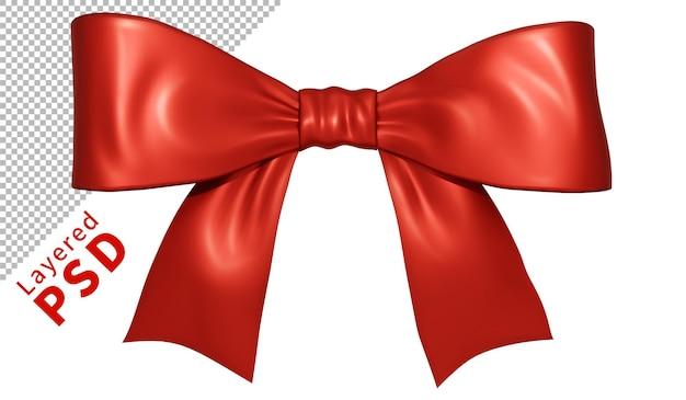 빨간색 새틴 선물 리본 활 격리 됨 프리미엄 PSD 파일