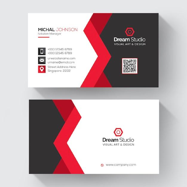 Red shape visit card template Premium Psd