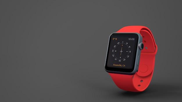 Red smartwatch mockup Premium Psd