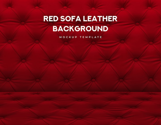 Red sofa classic couch leather with knob luxury pattern Premium Psd